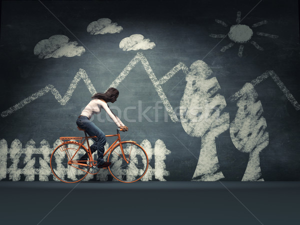 Young woman with a bicycle  Stock photo © orla