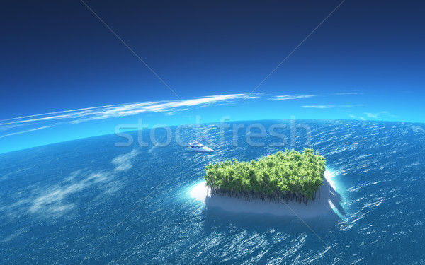 Heart-shaped tropical island Stock photo © orla