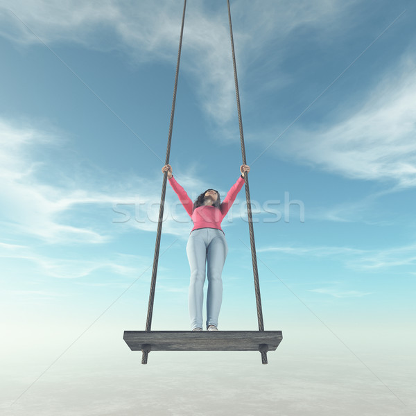 A girl on a swing. Stock photo © orla