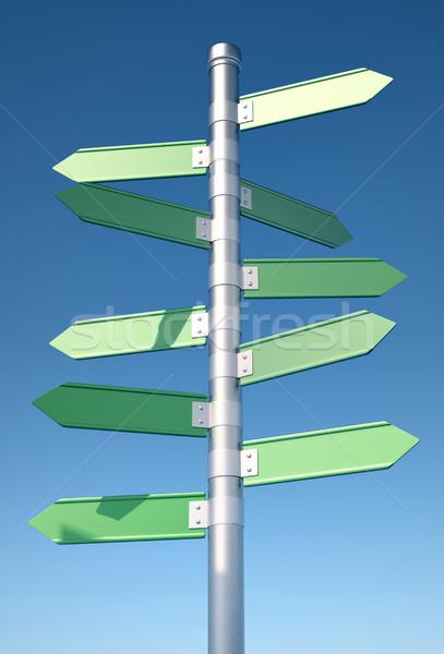ストックフォト: 方向 · にログイン · ポインティング · 3dのレンダリング · 青