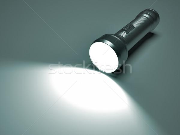 Lampe de poche place rendu 3d illustration éclairage étage Photo stock © orla