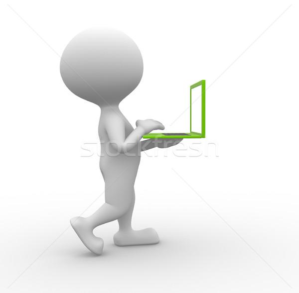 ストックフォト: 緑 · ノートパソコン · 3次元の人々 · 男性 · 人 · ビジネス