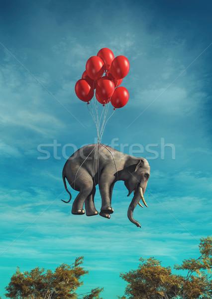 Conceptual image of an elephant flying  Stock photo © orla