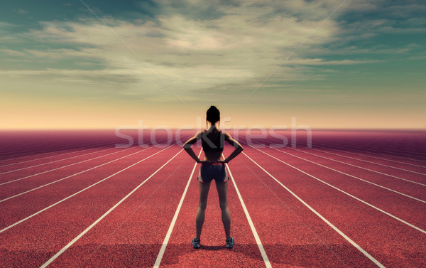 The athlete on the runway Stock photo © orla