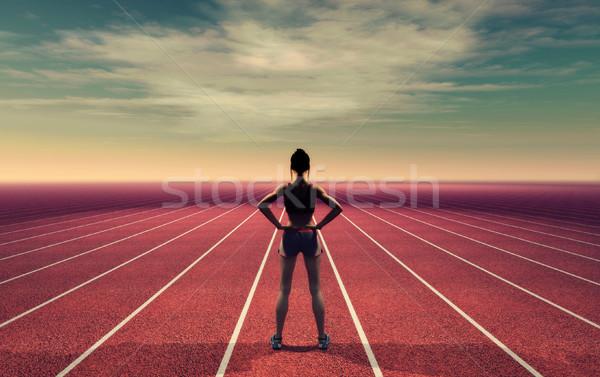 Atléta kifutópálya égbolt 3d render illusztráció egészség Stock fotó © orla