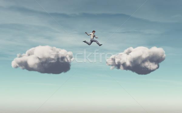 Empresário nuvem outro 3d render ilustração homem Foto stock © orla