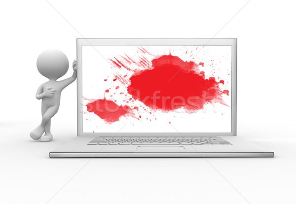 Stockfoto: Abstract · schilderij · 3d · mensen · mannen · persoon · laptop