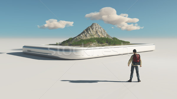 Hiker and a smartphone Stock photo © orla