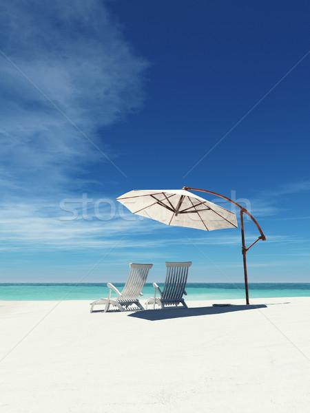 Foto d'archivio: Due · ombrello · tropicali · Ocean · spiaggia