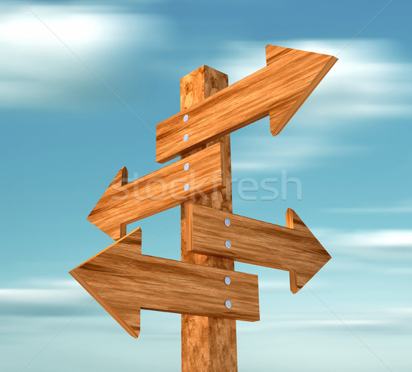 Wooden directional sign  Stock photo © orla