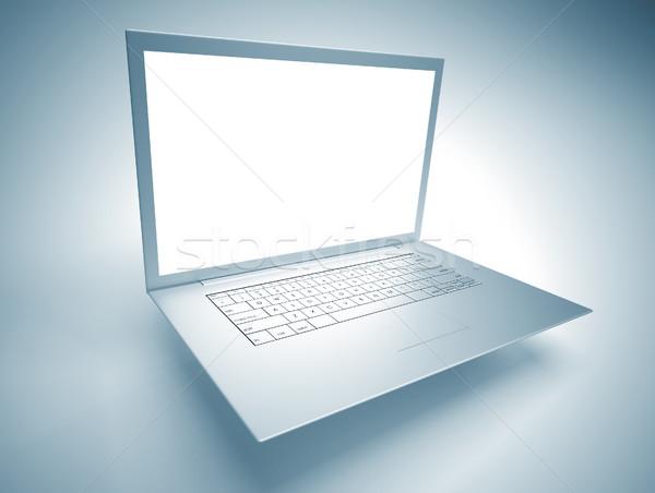 Stockfoto: Dun · laptop · top · computer · 3d · render