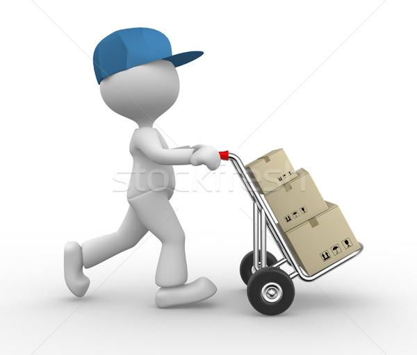 Postman gens 3d homme personne main camion Photo stock © orla