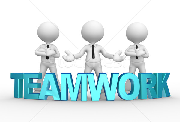 Zakenman 3d mensen mannen persoon woord teamwerk Stockfoto © orla