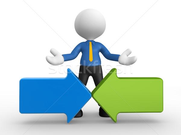 Nyilak 3d emberek férfi személy kettő üzletember Stock fotó © orla