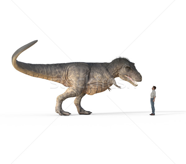 Man face to face with trex white  Stock photo © orla