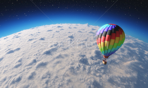 The balloon flying over planet in space Stock photo © orla