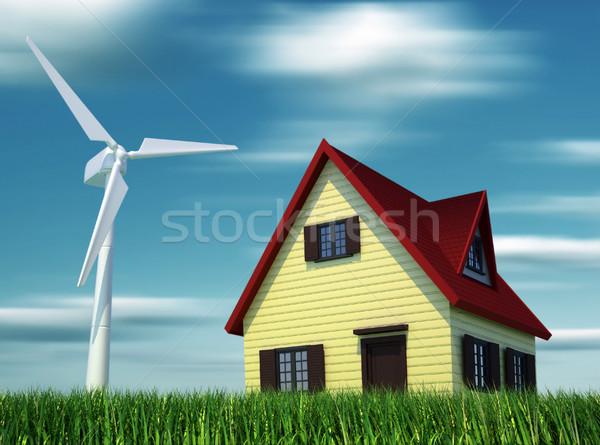 House powered by wind turbines Stock photo © orla