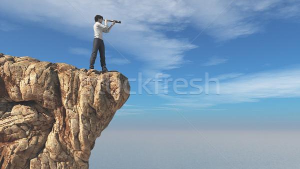 Adam dürbün kaya okyanus 3d render Stok fotoğraf © orla