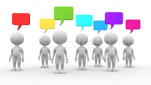 Stock fotó: 3D · férfiak · buborékok · 3d · emberek · személy · megbeszélés