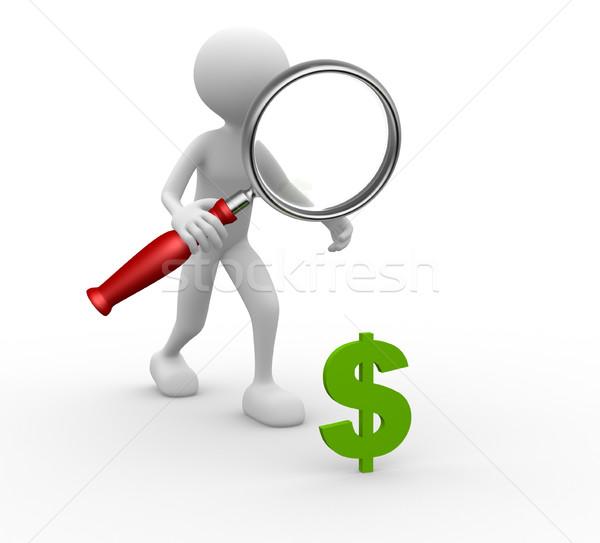 Nagyító dollárjel 3d emberek férfi személy felirat Stock fotó © orla