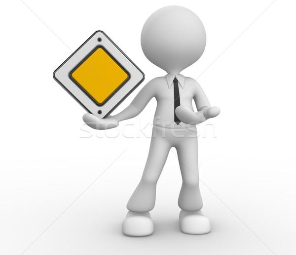Prioriteit teken 3d mensen man persoon lege Stockfoto © orla
