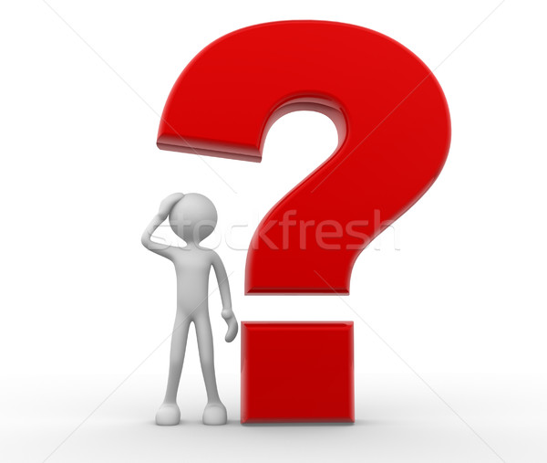 Zdjęcia stock: Znak · zapytania · 3d · osób · człowiek · osoby · duży · tle