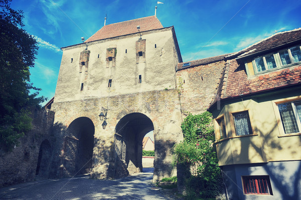 Historic tower gate in of the Fortress Sighisoara Stock photo © orla
