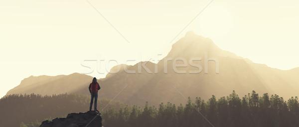 Jonge man omhoog berg bewonderen landschap 3d render Stockfoto © orla