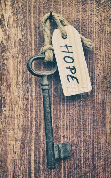 Remény kulcs címke acél gyűrű fehér Stock fotó © orla