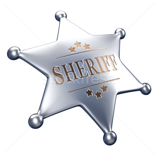Sheriff kitűző 3d render illusztráció izolált fehér Stock fotó © orla