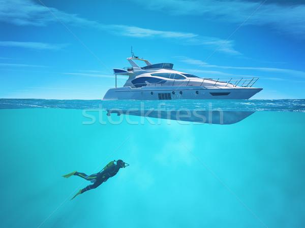 Diver nave da crociera rendering 3d illustrazione uomo sole Foto d'archivio © orla