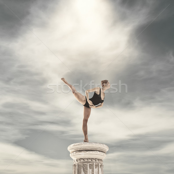 Ballerina dancing on tiptoe Stock photo © orla