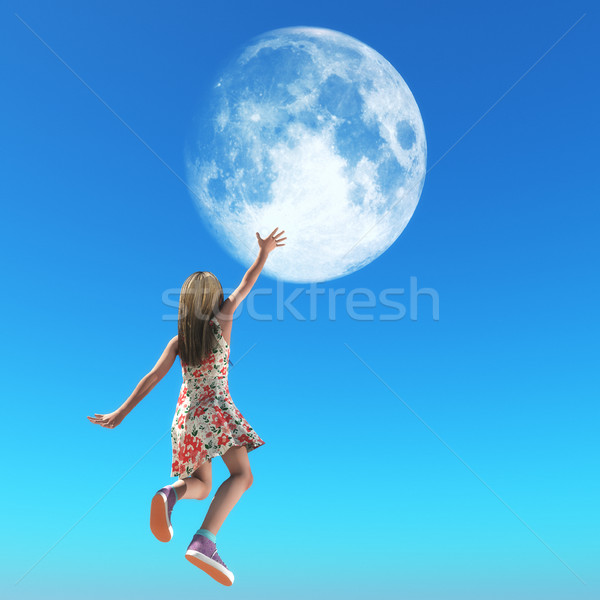 Small girl reaches with her hand for the moon  Stock photo © orla