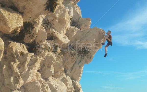Stockfoto: Jonge · man · klimmen · berg · 3d · render · illustratie · hemel