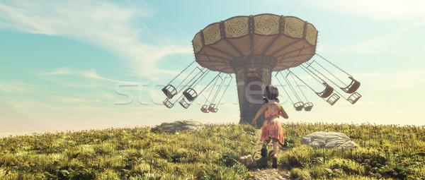 Stock photo: Little girl running in a field