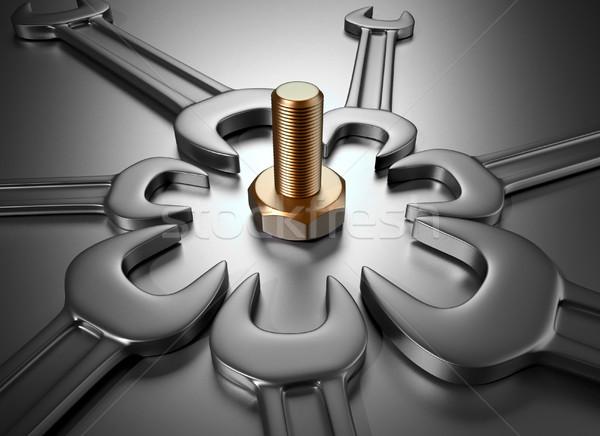 Llaves tornillo 3d ilustración metal herramientas Foto stock © orla