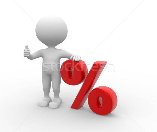 процент 3d люди человека человек знак скидка Сток-фото © orla