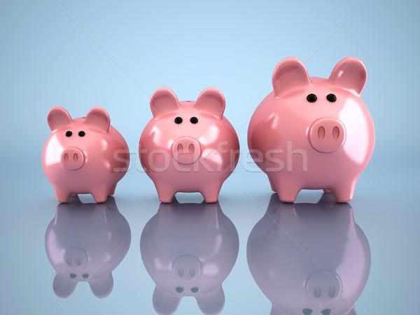 Három persely 3d render illusztráció üzlet pénz Stock fotó © orla