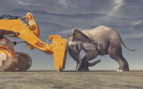 Elefánt citromsárga buldózer kép 3d render illusztráció Stock fotó © orla