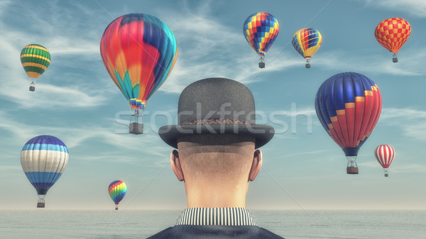 Photo stock: Homme · chaud · air · ballons