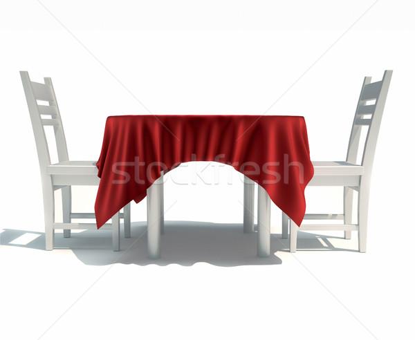 Eettafel stoelen 3d render illustratie vergadering diner Stockfoto © orla