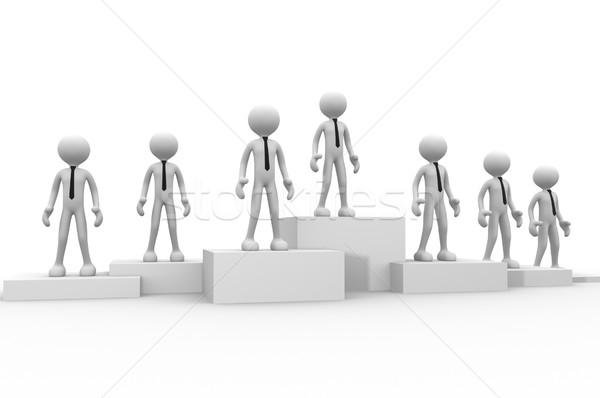 Vencedor 3d pessoas homens pessoa pódio empresário Foto stock © orla