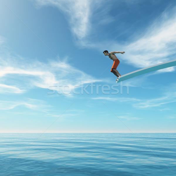 Jonge man springen trampoline zee 3d render illustratie Stockfoto © orla