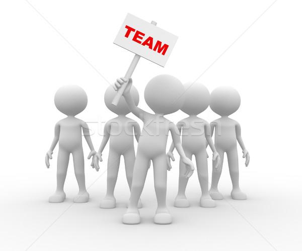 3d pessoas homem pessoa grupo líder bandeira Foto stock © orla