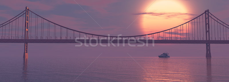 Cruiseschip brug zonsondergang 3d render illustratie zee Stockfoto © orla