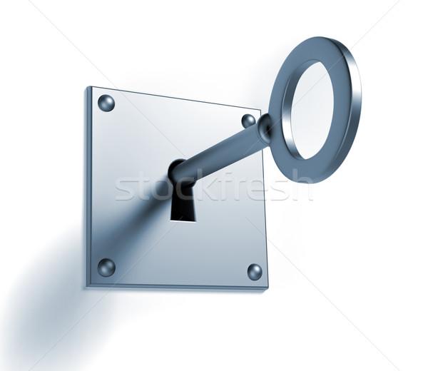 Sleutel sleutelgat 3d render illustratie deur dienst Stockfoto © orla