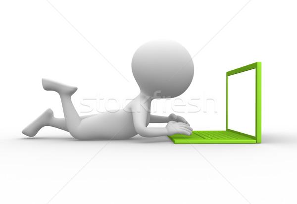Сток-фото: ноутбука · 3d · люди · мужчин · человек · используя · ноутбук · компьютер