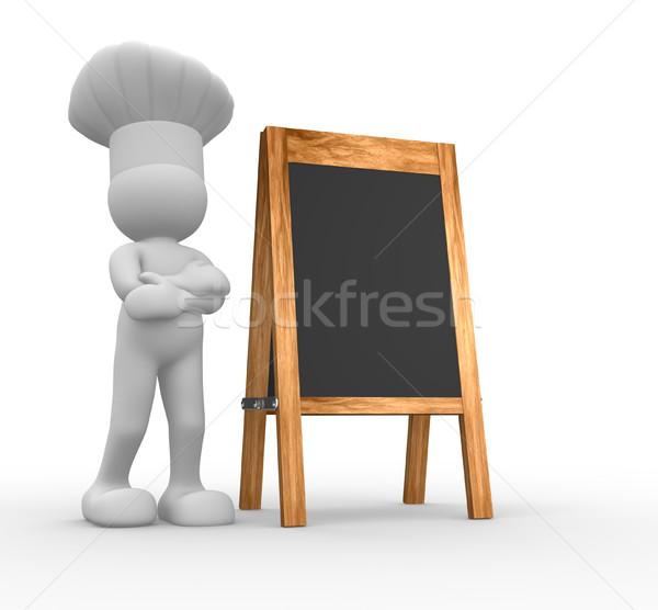 Foto stock: Chef · menu · conselho · 3d · render · ilustração · quadro