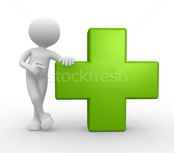 3d people man, person and green cross Stock photo © orla