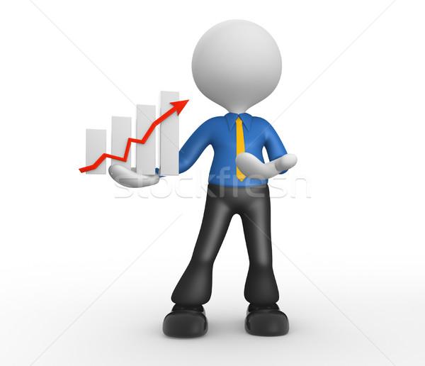 üzletember 3d emberek férfi személy grafikon pénzügyi Stock fotó © orla